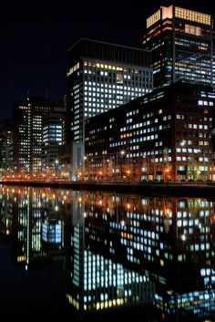 Night View in the Mirror,    Marunouchi, Tokyo, JAPAN