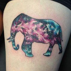 elephant tattoos | Galaxy elephant tattoo | Tattoo Weird Tattoos, Wolf Tattoos, Cute Tattoos, Beautiful Tattoos, Body Art Tattoos, Tattoos For Guys, Space Tattoos, Tattoo Ink, Fish Tattoos