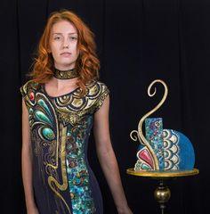 art deco - cake by zeiko Art Deco Cake, Cake Art, Hand Painted Dress, Girly Cakes, Food Artists, Dress Cake, Fashion Cakes, Beautiful Cakes, Lovers Art