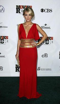 Grecian-inspired red Neem Khan dress