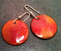 Enamel on Copper Earrings Red and Orange Disk by YMBlueOriginals, $25.00