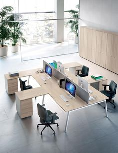 The ideal office desk for modern workplaces Modern Office Decor, Office Interior Design, Office Interiors, Desk Partitions, Home Office, Office Desk, Open Space Office, Wooden Desk, Office Furniture