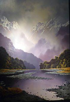 """Képtalálat a következőre: """"new zealand landscape paintings"""" Paintings Famous, Realistic Paintings, Famous Artists, Pictures To Paint, Cool Pictures, Landscape Art, Landscape Paintings, New Zealand Landscape, New Zealand Art"""