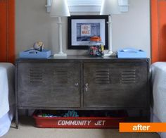 Tricia from Simplicity in the South loved the vintage industrial look of Restoration Hardware's steel cabinets, though their prices were not in the budget. She had an idea that with a little paint and some upholstery tacks, she could transform an old IKEA PS cabinet into something a little less schoolyard and a little more industrial chic.