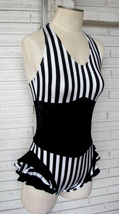 Vertical Stripe Cirque Leotard Bodysuit Aerial Costume, Custom Made. $70.00, via Etsy.