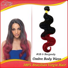 """5a Unprocessed affordable brazilian virgin hair extension queen hair pruducts Ombre Body Wave 1bundle 12""""-30"""" 100g #1B&Burgundy $20.00 - 57.00"""