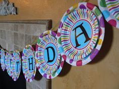 Birthday banner using paper plates and vinyl lettering & paper plate birthday banner via Flower Patch Farmgirl | crafty ...