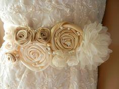 Sash Belt Wedding Bridal Sash Belt Silk Flower by DAYDREAMERBRIDE