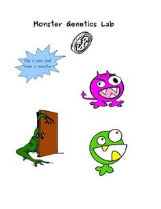 This amazingly fun activity will allow students to pair up in groups and make a monster by flipping a coin. This activity will reinforce genetic terminology.  Each student will contribute an allele for each trait determined by heads or tails. They will make combinations that yield different genotypes and phenotypes.