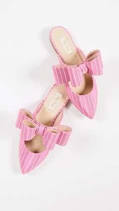 0a6daae8a985 Pink Stripe Bow Mules Pink Mules