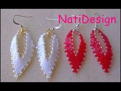 Brick Stitch Earrings, Seed Bead Earrings, Leaf Earrings, Beaded Earrings, Earrings Handmade, Dangle Earrings, Diamond Earrings, Seed Bead Tutorials, Beading Tutorials