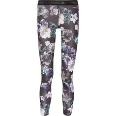 ADIDAS by STELLA McCARTNEY   Floral-print stretch-jersey leggings (100 CAD) ❤ liked on Polyvore featuring activewear, activewear pants, floral activewear, stretch jersey, adidas sportswear, logo sportswear and adidas activewear