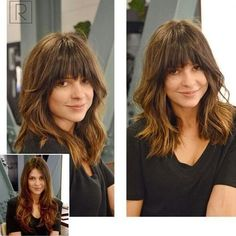This Lob Haircut With Arched Bangs <3