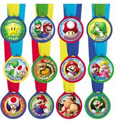 Super Mario Award Medals Birthday Party Supplies Favors Reward Nintendo Wii~12ct Party Supplies, Party Themes Party Decorations, Tableware, Balloons and Party Favours or much more with discounted prices in United States