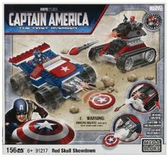 Megabloks Captain America Showdown by Megabloks. $41.50. Cool Captain America and Red Skull themed sticker sheets. .. Build and rebuild both vehicles to create new adventures!. Build Captain America?s Jeep & Red Skull?s Tank, both with working launchers!. 2 buildable collectible figurines: Captain America and Red Skull. From the Manufacturer                Build and rebuild to create most epic showdown in Captain America's history! Captain America versus Red Skull under your c...