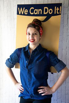 Looking for a fun iconic Halloween costume? This Rosie the Riveter costume couldn't be easier to make! Fall Halloween, Halloween Costumes, Halloween Ideas, Rosie The Riveter Costume, Genie Costume, Trunk Or Treat, We Can Do It, Fall Decor, Polo Ralph Lauren