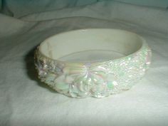 aurora borealis carved hard plastic bangle by qualityvintagejewels, $14.00