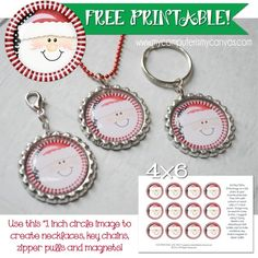 FREE CHRISTMAS PRINTABLE Santa Bottle Cap Image - perfect for making party favors and inexpensive gifts... Necklaces, Key Chains, Zipper Pulls or Magnets! #mycomputerismycanvas