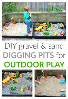 Make some outdoor sensory play areas for toddlers and preschoolers with these two simple ideas; a DIY sand box and a gravel pit construction site! Outdoor play areas DIY Sand Box and Gravel Pit - The Imagination Tree Outdoor Play Spaces, Kids Outdoor Play, Kids Play Area, Backyard For Kids, Diy For Kids, Outdoor Games, Backyard Trampoline, Backyard Playground, Playground Ideas