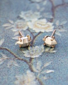 Bijou Studs | These earrings are mixed metal, featuring faceted sterling silver illusion gemstones set in solid 14kt rose gold.