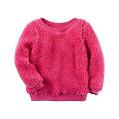 Baby Girl Carter's Sherpa Sweatshirt, Size: 18 Months, Brt Pink