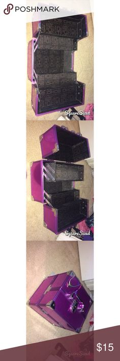 Multi purpose compartment box! Perfect condition no stains!  Pretty light purple color, metal, big size not mini. Good use for make up, nail polish, or other things!! Two shelf that pull out and room at the bottom of box for othee stuff! Has a key and lock to it also!  I have the key as shown in picture. Bags Cosmetic Bags & Cases