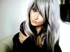 silver & black hair whats the formula for the silver hair color? Drop Dead Gorgeous, Gorgeous Hair, Love Hair, Great Hair, Awesome Hair, Looks Style, Looks Cool, Black And Grey Hair, White Hair