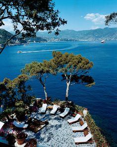The terrace of Domenico Dolce and Stefano Gabbana's Portofino home, Villa Olivetta.