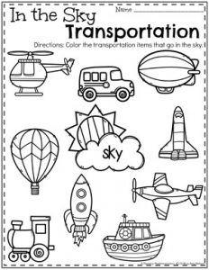 Transportation Worksheets - pre-k - Transportation Preschool Activities, Transportation Worksheet, Preschool Craft Activities, Preschool Lessons, Preschool Classroom, Preschool Worksheets, Preschool Learning, Alphabet Worksheets, Kindergarten