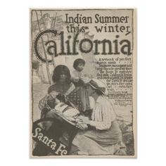 #1916 Travel to California Santa Fe RR Poster - #travel #trip #journey #tour #voyage #vacationtrip #vaction #traveling #travelling #gifts #giftideas #idea