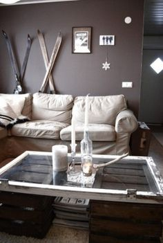 Recycled crates and skis to give the room a cosy but rustic feel. Love this for a ski house!