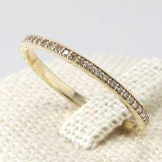 Thin Diamond Eternity Band 14K Solid Gold, Champagne Diamond Ring, Diamond Wedding Band
