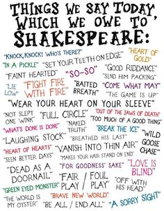 Things we say because of Shakespeare.