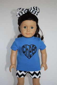 """Cheer Practice Outfit for American Girl 18"""" Dolls -Black Chevron and Blue by PixieDustDollClothes on Etsy"""