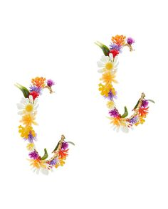 Mercedes Salazar Flower Hoop Earrings: Oversized hoops are decorated with flowers entwined onto a wire base. Post back for pierced ears. 2 1/2 . In gold-tone. ...
