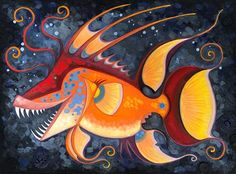 "Daily Paintworks - ""Dragon Hog Fish"" - Original Fine Art for Sale - © Theresa Franke"