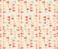 """""""Back & Forth - Triangle Abstract Pattern in Peach, Aqua & Cream"""" by Micklyn."""