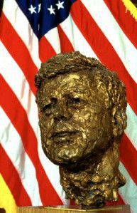 Bust of John F. Kennedy, by Robert Berks, located at the National Library of Medicine. It is a replica of the large bust located in the grand foyer of the Kennedy Center for the Performing Arts in Washington, DC.