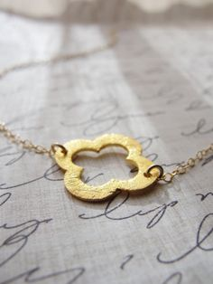 Little gold clover necklace  brushed gold by OliveYewJewels, $32.00