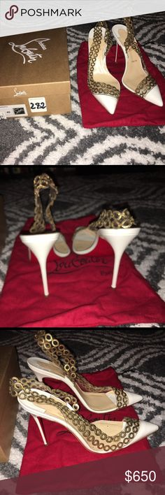 Authentic Christian Louboutin Sling Backs White and gold sling backs with metal detailing. Worn once. No signs of wear except for on the soles. Comes with dust bag and original box. Runs small so fits like US9. Christian Louboutin Shoes Heels