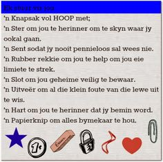 Afrikaanse Inspirerende Gedagtes & Wyshede Afrikaanse Quotes, Goeie More, Projects To Try, Wisdom, Words, Motivation, Journal Ideas, Cartoons, Van