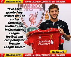 BREAKING: Liverpool have announced the signing of Adam Lallana