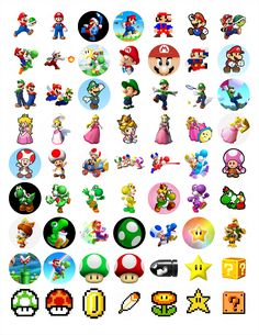 """Nintendo Mario Brothers Bottle cap images, high resolution formatted for printing on 8.5"""" x 11"""" page"""