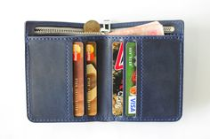 Navy Blue Handmade Leather Wallet, FREE SHIPPING for 20 the 1st, Mens Wallets, Accessories, Best Products, Handwallet, Pattern Goods, Bifold by MereLeather on Etsy
