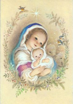 Marta Christmas Angels, Christmas Art, Beautiful Christmas, Christian Artwork, Christian Images, Blessed Mother Mary, Blessed Virgin Mary, Vintage Christmas Cards, Christmas Postcards