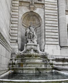Fountain outside the New York City Public Library, 5th, Avenue, Manhattan, NYC (08/24/2016)