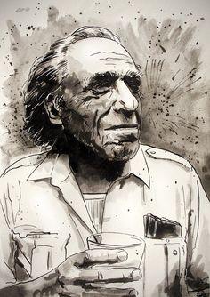 Charles Bukowski portrait #2 by geertvanleeuwen
