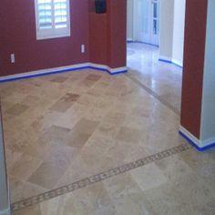 travertine dining room Tile Installation, Carpet Tiles, Travertine, Tile Floor, Hardwood, Dining Room, Flooring, Natural Wood, Carpet Squares