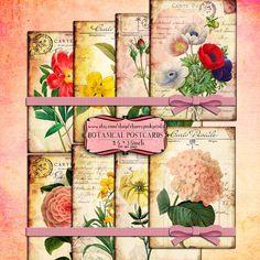 VINTAGE FLOWER vintage digital collage sheet by CherryPinkPrints