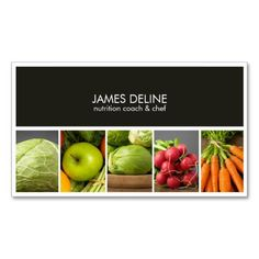 Modern Elegant Nutritionist Chef Double-Sided Standard Business Cards (Pack Of 100) http://www.zazzle.com/modern_elegant_nutritionist_chef_business_card-240421776213276817?rf=238756979555966366&tc=PtMPrsskmtChef Customizable modern elegant business card template with professional studio photos of vegetables. Perfect for catering company, food service, nutrition coach, health consulting, personal chef.